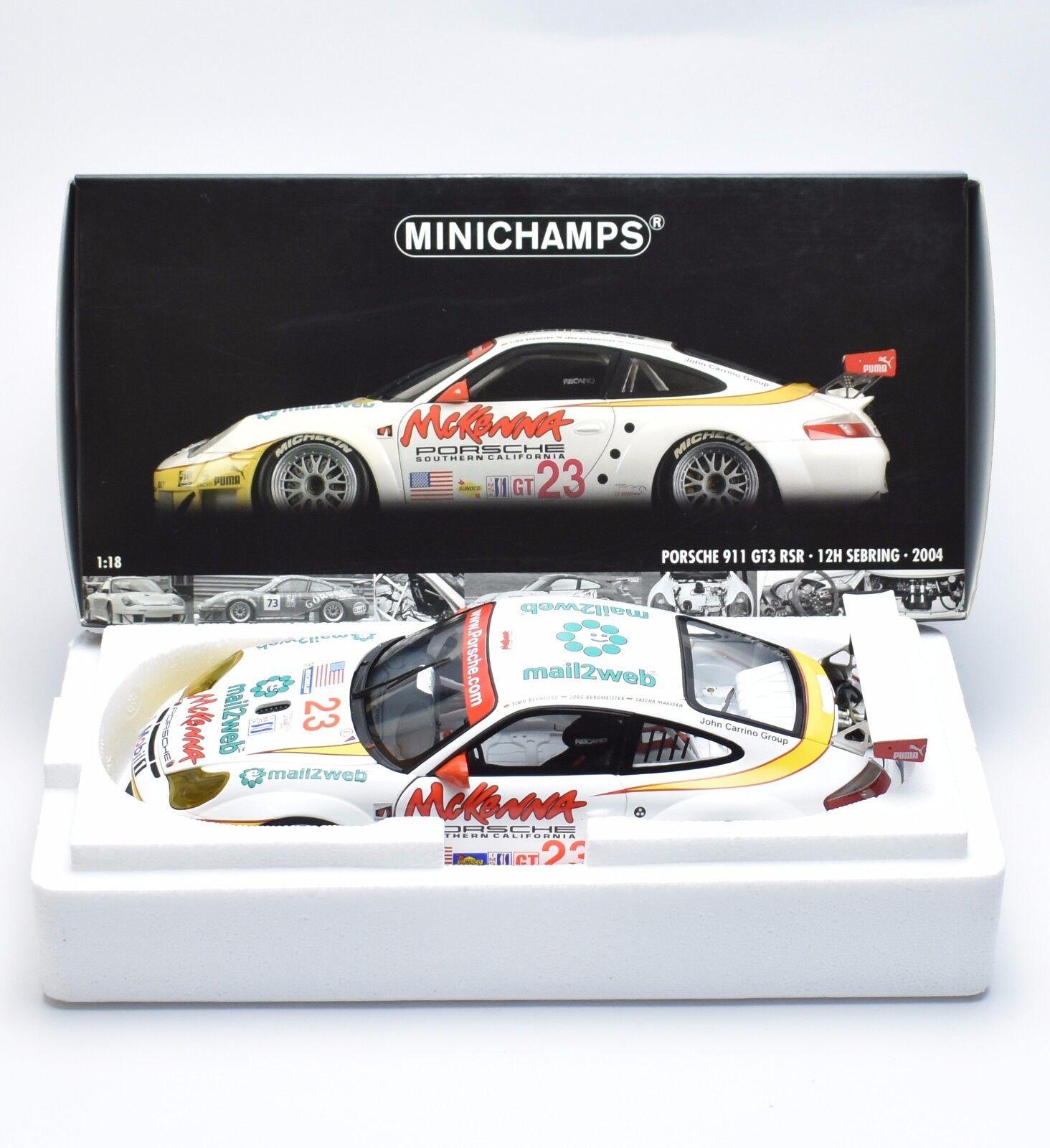 Minichamps PORSCHE 911 gt3 RSR 12h Sebring 2004 Bernhard Maassen 1 18, OVP, k013