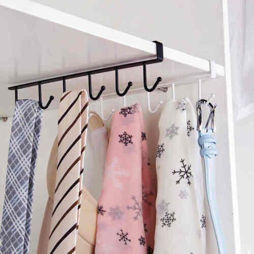 Hot 6 Hooks Cup Holder Hang Kitchen Cabinet Under Shelf Storage Rack Organizer