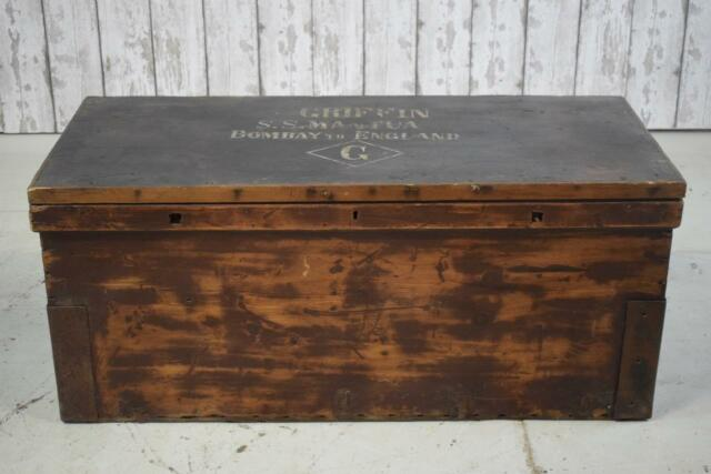 Large Vintage Antique Industrial Wooden Trunk Chest Coffee Table