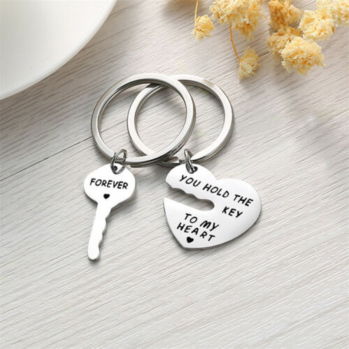 1 Set Key Heart Keychain YOU HOLD THE KEY TO MY HEART FOREVER Keyring Shan