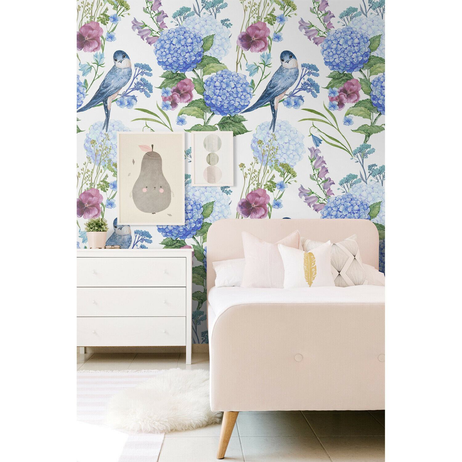 Removable Wall Wall Wall Mural Adhesive Birds Flowers