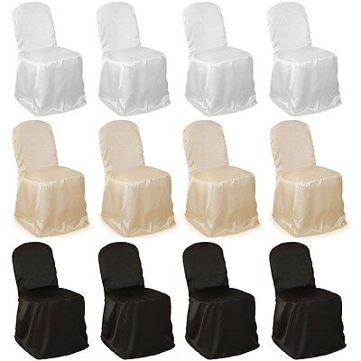 50 Banquet Polyester Chair Covers Made in USA High Quality 3 Colors Wedding