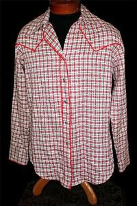 VINTAGE-1970-039-S-CUSTOM-MADE-COTTON-WOVEN-WESTERN-SNAP-SHIRT-SIZE-LARGE