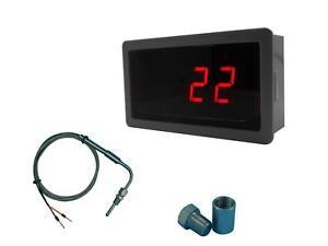 12V//℃ Digital Red LED Temperature Meter for K Type Thermocouple EGT Sensors