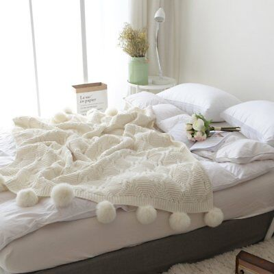 Afghans & Throw Blankets Cream Pom Pom Plush Throw Blanket Luxurious Lovely Lounge Cover Knitted Blanket High Quality And Inexpensive