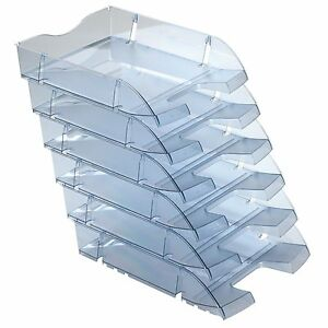 Office-Paper-Trays-A4-Document-Organiser-Letter-Storage-Holder-Pack-Of-6-Grey