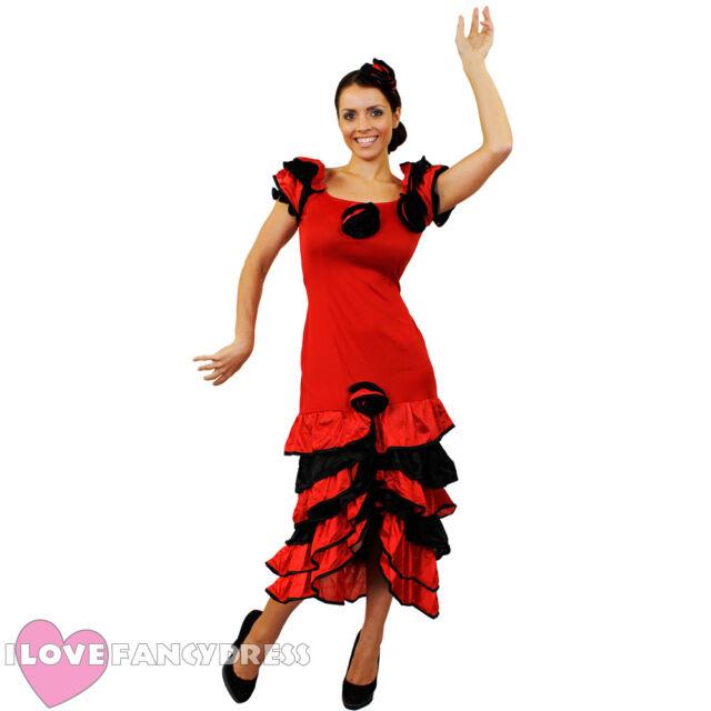 87ff37f89ef6 LADIES RUMBA FANCY DRESS AND FLOWER HEADPIECE SPANISH FLAMENCO DANCER  COSTUME