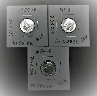 1959 P D Roosevelt Dime Year Set 90/% Silver Proof /& BU US 3 Coin Lot