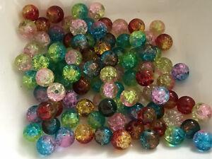 100-Glasperlen-Crackle-MIX-8-mm-100-Stueck-Schmuck-Basteln-Perlen-Deko-H1004