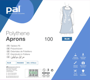 Pal Polythene Aprons Gown Blue Bagged Pack of 100 Medical and Food Hygiene