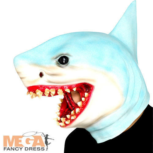 Shark Overhead Mask Adults Fancy Dress Sea Animal Mens Ladies Costume Accessory