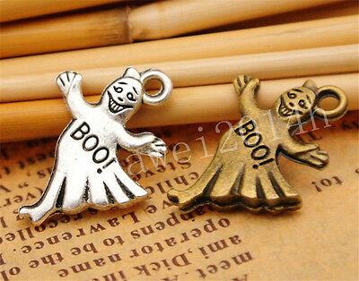 10/40/200pcs Lot Tibetan Silver Ghost Jewelry Making Charm Pendant 21x17mm A849H