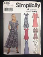 Simplicity 5189 Misses/petite Pullover Dress In 2 Lengths W/ Neckline Var.