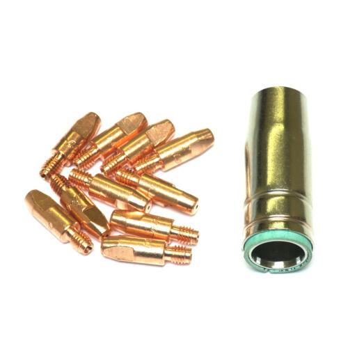 D41 1 shroud /& 10 x 1.0mm Contact Tips MIG Welding Binzel Style Euro Torch MB25
