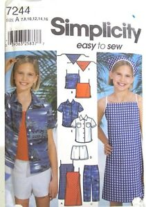 Girls-Summer-Dress-Top-Pants-Shorts-Pattern-Size-7-8-10-12-14-16-Simplicity-7244
