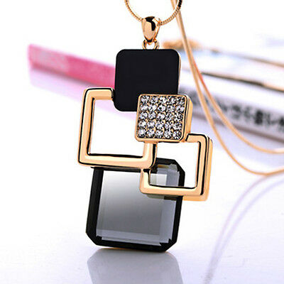 Women Rhinestone Crystal Geometric Pendant Necklace Long Chain Sweater Jewelry