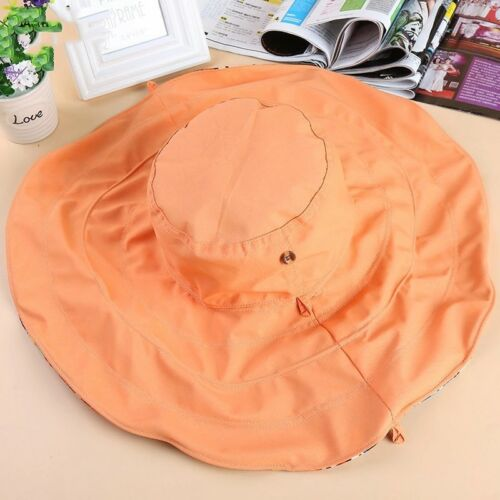 Women Summer Reversible Floppy Wide Brim Beach Roll Foldable Sun Hat Visor Cap
