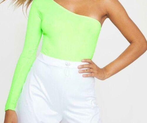 Ladies Womens Long Sleeve One Shoulder Plain Bodysuit Leotard Fashion Top 8-14
