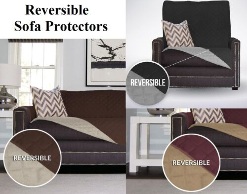 REVERSIBLE QUILTED SOFA CHAIR SETTEE PET PROTECTOR SLIP COVER FURNITURE THROW