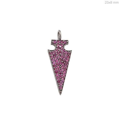 Genuine Ruby Gemstone Arrowhead Charm Pendant .925 Sterling Silver Fine Jewelry