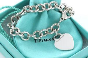 Tiffany-amp-Co-Sterling-Silver-Plain-Heart-Tag-Charm-7-5-Bracelet-w-Pouch