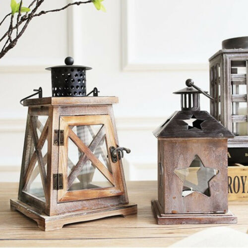 Baoblaze Wooden Candlestick Candle Holder Lantern Lamp Wedding Xmas Decor