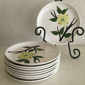 9-vintage-Blue-Ridge-handpainted-Dixie-Dogwood-6-5-inch-saucer-plates-EUC