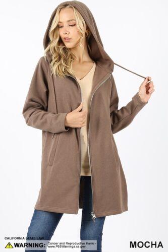 Women/'s Long Sleeve Two Way Zipper Hoodie Sweatshirt Coat Pocket Tunic Top Plus
