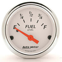 Autometer Arctic White 0-90 Ohms Electric Gm Chevy Fuel Level Gauge 2-1/16