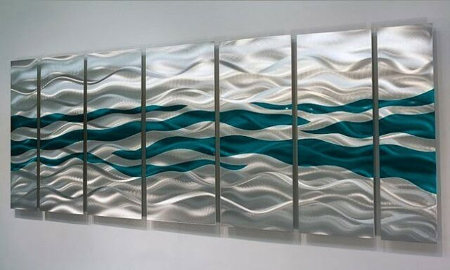 Silver/Teal One of a Kind Metal Wall Art Sculpture by Jon Allen - OOAK 625