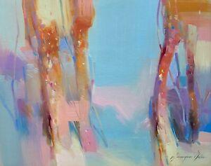 Foggy Trees, Landscape Original Oil painting  Handmade artwork One of a kind