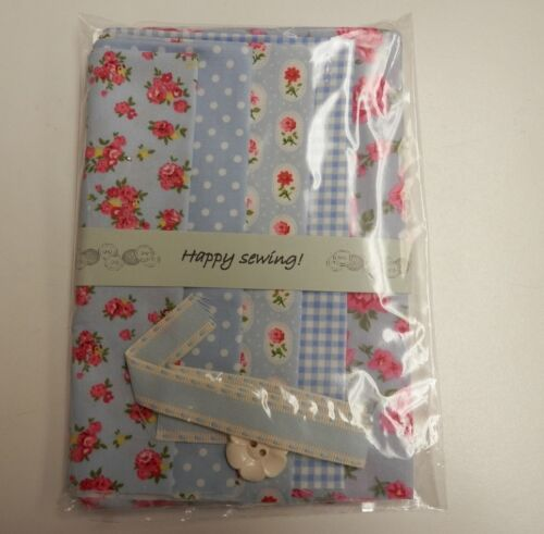 100/% Cotton Fabric Patchwork//Quilting//Craft 5 Fat Eights Sky Blue /& Rosie