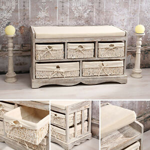 sitzbank kommode 5 k rbe shabby chic wei bank truhe flur vintage stil kissen ebay. Black Bedroom Furniture Sets. Home Design Ideas