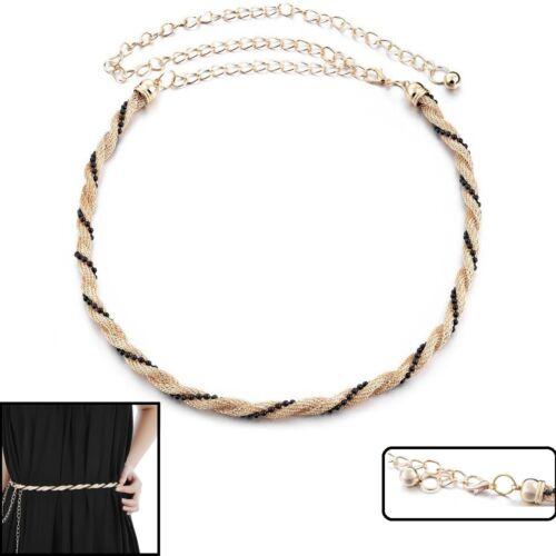 Le donne signore ragazze Cintura di strass diamante catena girovita da cerimonia ORO 753