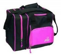 Bsi Deluxe Single Bowling Ball Bag Black /pink With Free Towel & Free Shipping