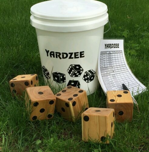 Yardzee Custom Outdoor 5 Cedar Wood Quintal Gramado Dice Game Set Queimado Dots Azul