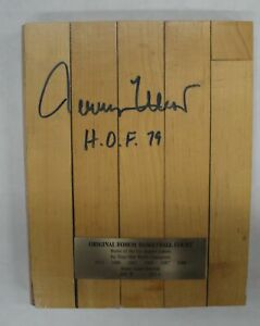 Jerry West Hand Signed Fabulous Forum 8x10 Piece Game Used Floor HOF 79 PSA