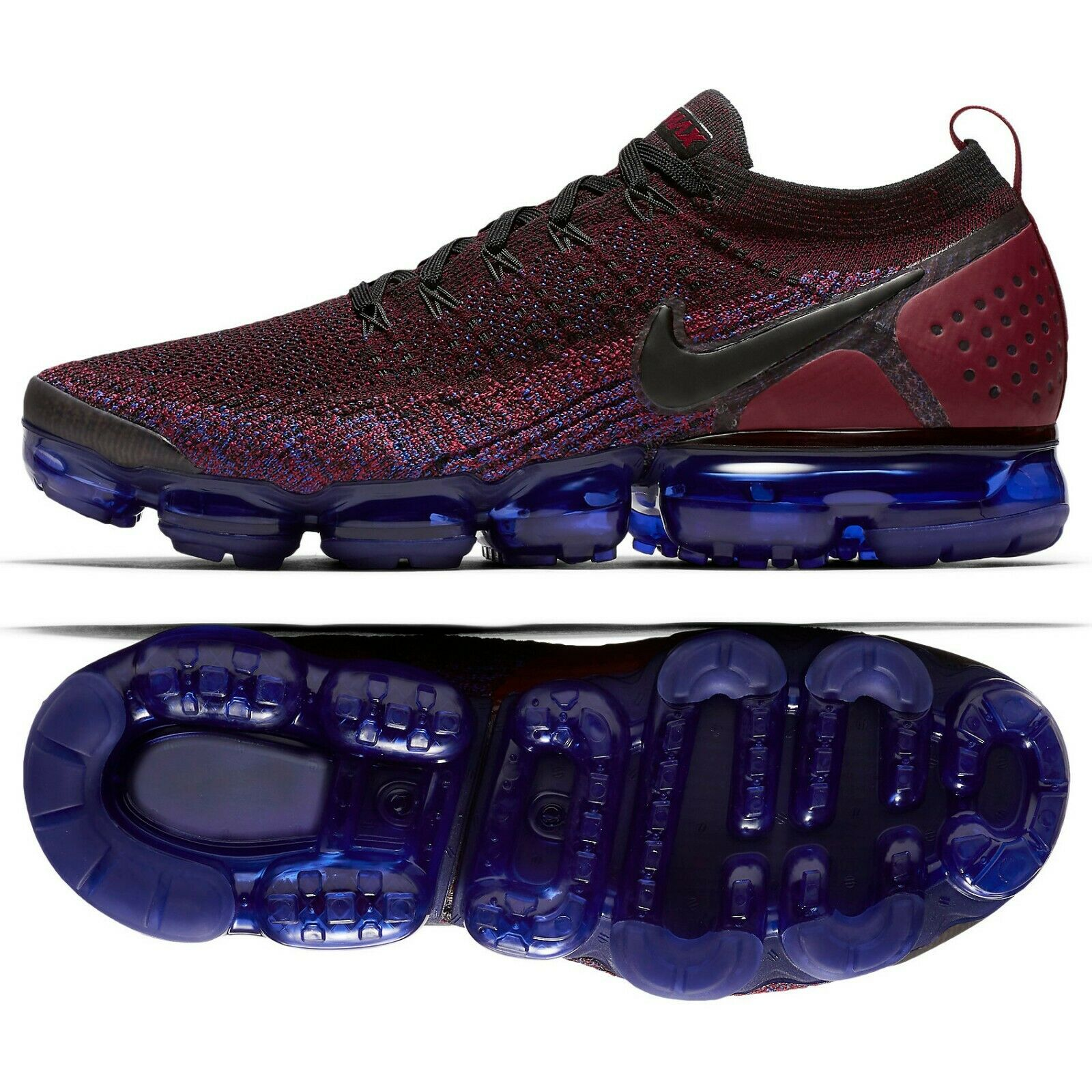 Nike Air VaporMax Flyknit 2 942842-006 Black Team Red Racer bluee Men's shoes