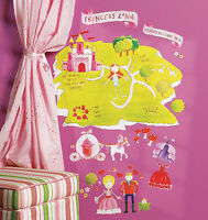 Princess Land Castle Wall Play Room Peel N Stick Decor Carriage Flowers Stickers