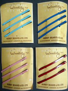 Choice-of-5-Colours-1940s-Kirby-Beard-7cm-Hair-Slides-on-ORIGINAL-Packaging