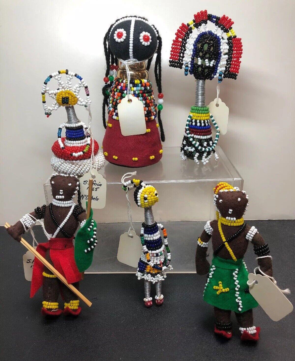 """5.5-4"""" Vintage Assorted Handmade Beadwork South African Dolls Set Of 6 N'Debele"""