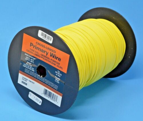 Made in USA DEKA 16 AWG YELLOW GXL Cross-Linked Polyethylene Wire 125°C 100 Ft
