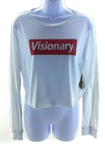 Social Butterflies Juniors White Visionary Long Sleeve Crop T Shirt Size Large