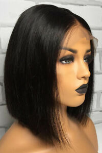 Short-Bob-Black-Glueless-Lace-Front-Wig-Brazilian-Human-Hair-Wigs-Pre-Plucked-US