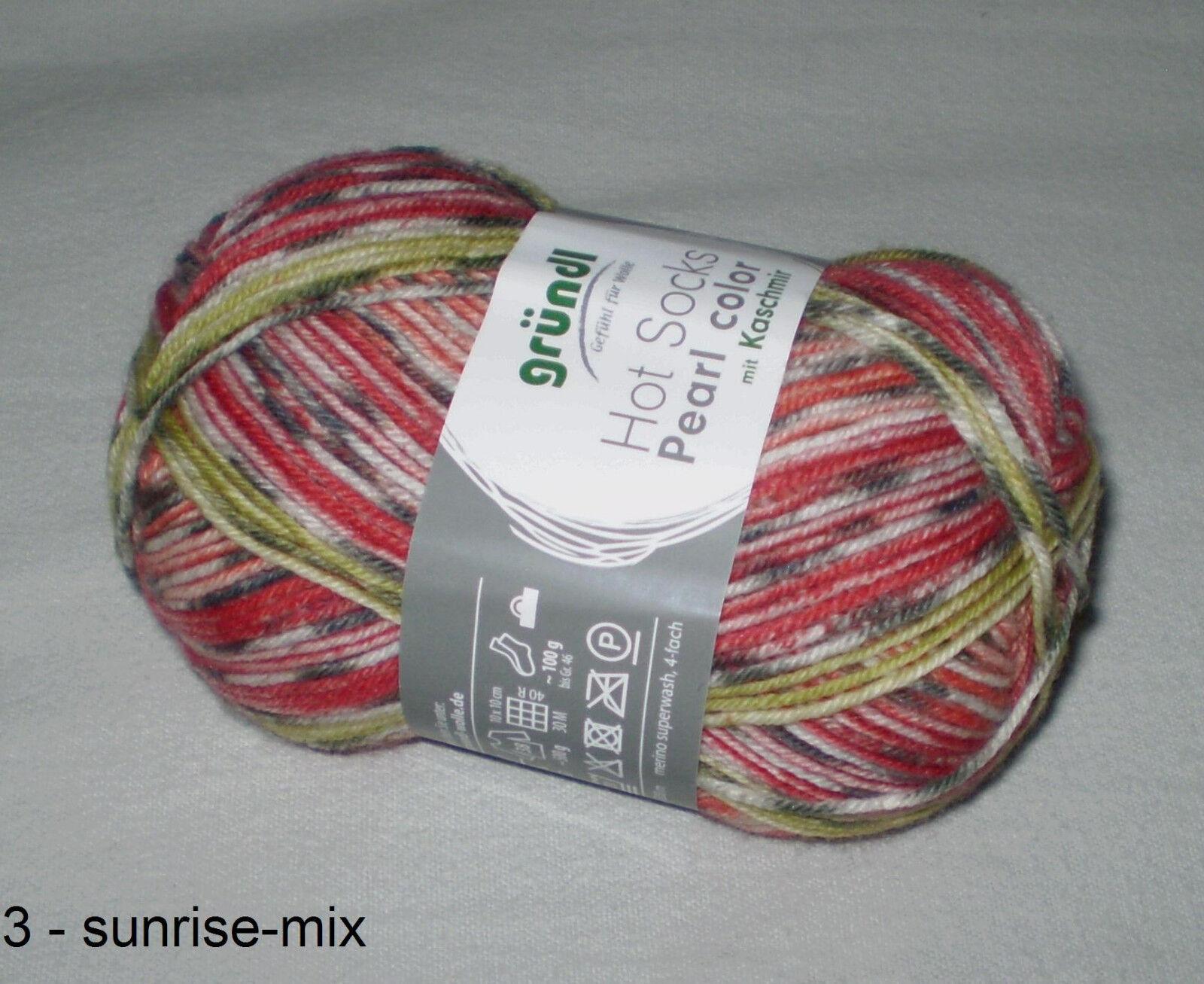 8,40€//100gr 50 gr HOT SOCKS PEARL color edle Sockenwolle mit Kashmir 4-fädig