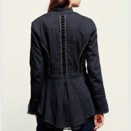 Victorian mennesker Navy gratis Jacket M Up Nye Sz Lace Medium 168 Military Itx65a