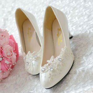 White-Lace-Floral-Bridal-Wedding-Shoes-High-Heels-Flat-Platform-Party-Evening