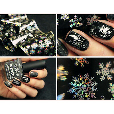 1Pc Christmas Snowflake Holographic Nail Art Foils Roll Wraps Stickers Paper
