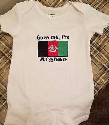 Love me I/'m Afghan Afghanistan Flag  Baby Bodysuit Embroidered