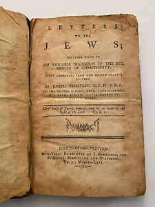 Letter to the Jews A Discussion Joseph Priestly 1794 1st American Edition Book